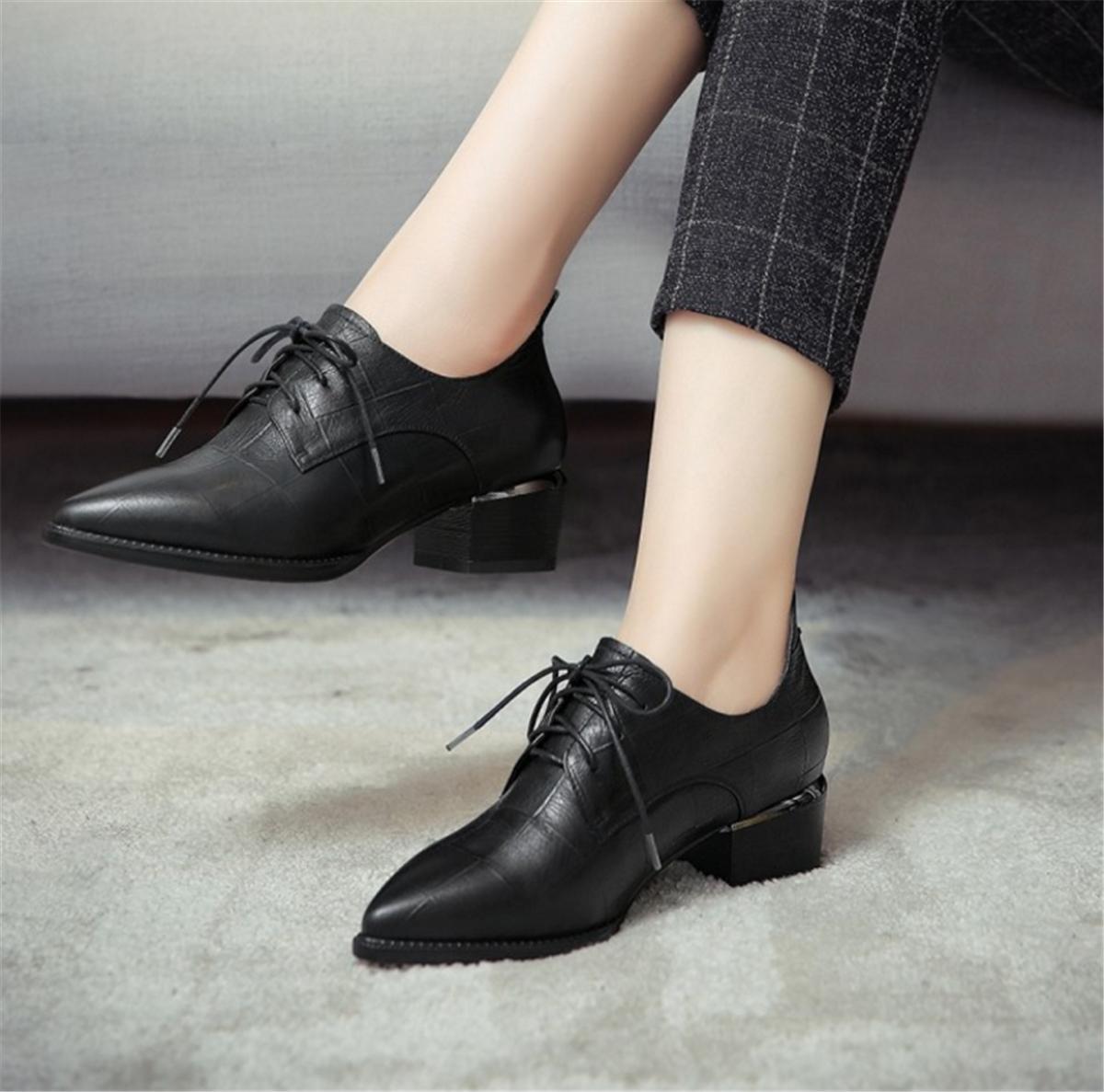 Damen Neue Single Schuhe Rough Rough Rough Niedrig Mid Heel Spitz Zehen Strappy Echt Leder Herbst Winter Party Arbeit , schwarz , EUR 38/ UK 5.5 - 105629