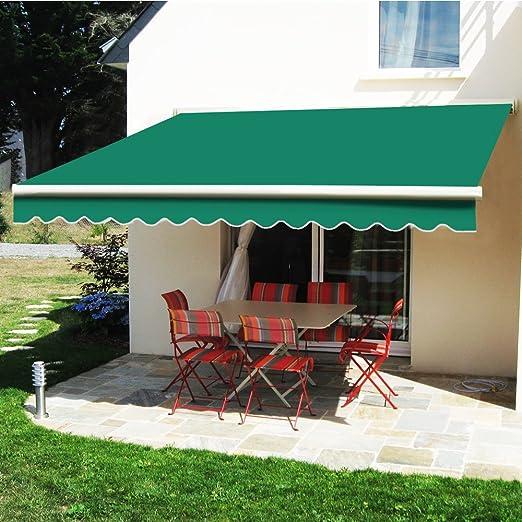 Greenbay Manual para toldo toldo | verde 3 x 2, 5 m retráctil al aire libre Patio Jardín Sol sombra refugio completo con accesorios y manivela: Amazon.es: Jardín