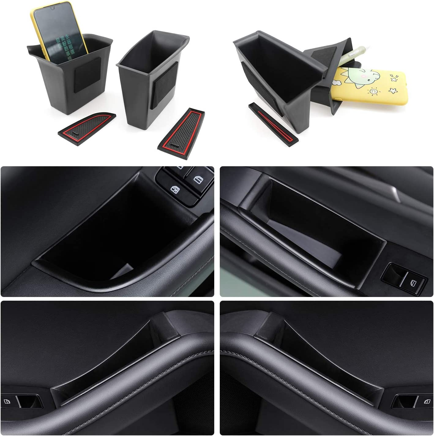 Passenger Storage Tray Organizer Grab Handle Accessory Box for 2019 2020 Mazda 3 Mazda3 Axela Handle Pocket Door Side Pallets Armrest Container Box Cover Kit Trim Handle Pocket 2PCS Front Door