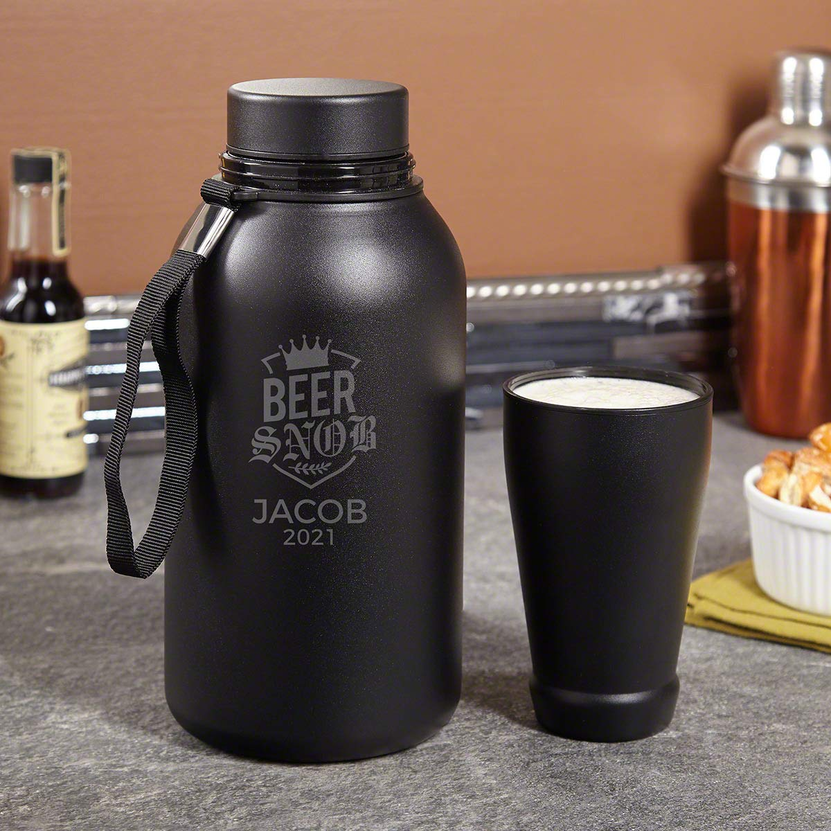 Beer Snob Personalized Growler and Travel Cup (Custom Product)