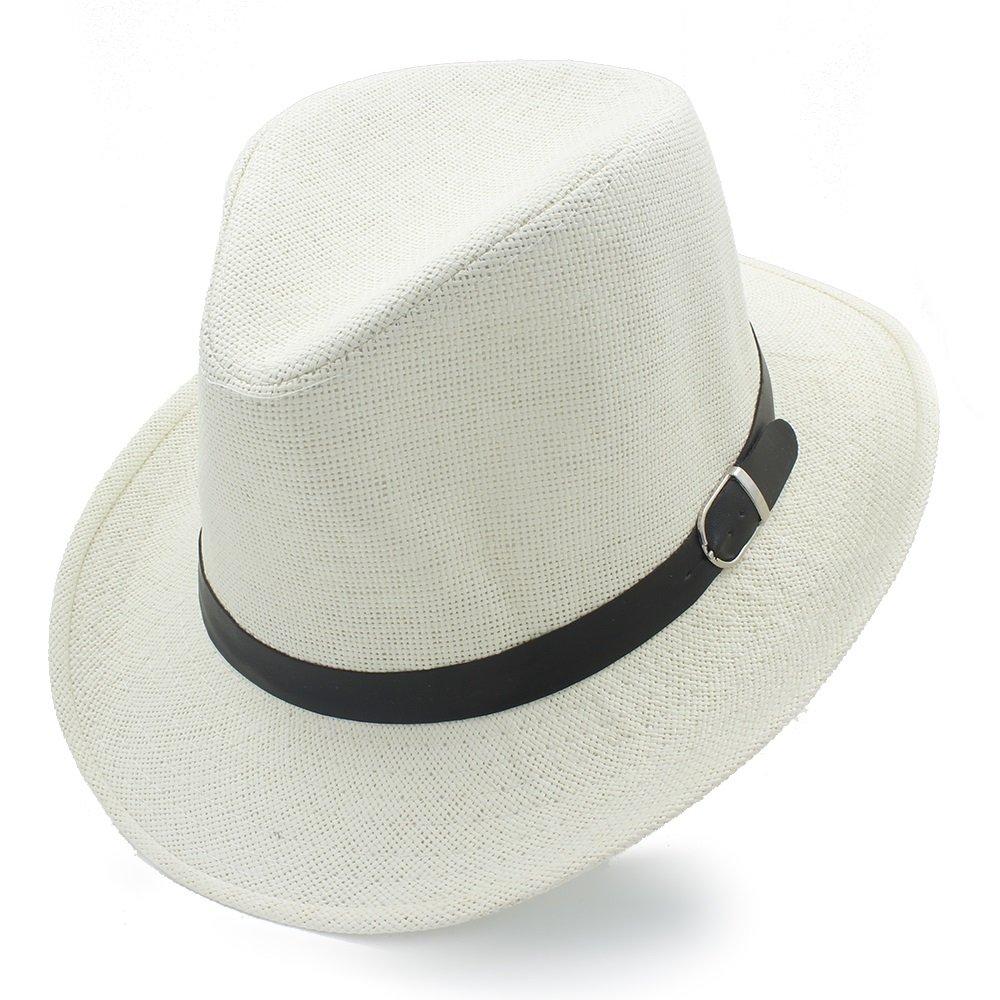 HYF Cappello da Cowboy Estivo da Donna con Cappelli da Cowboy Sombrero in Paglia (Colore : Bianca, Dimensione : 58 Centimetri)