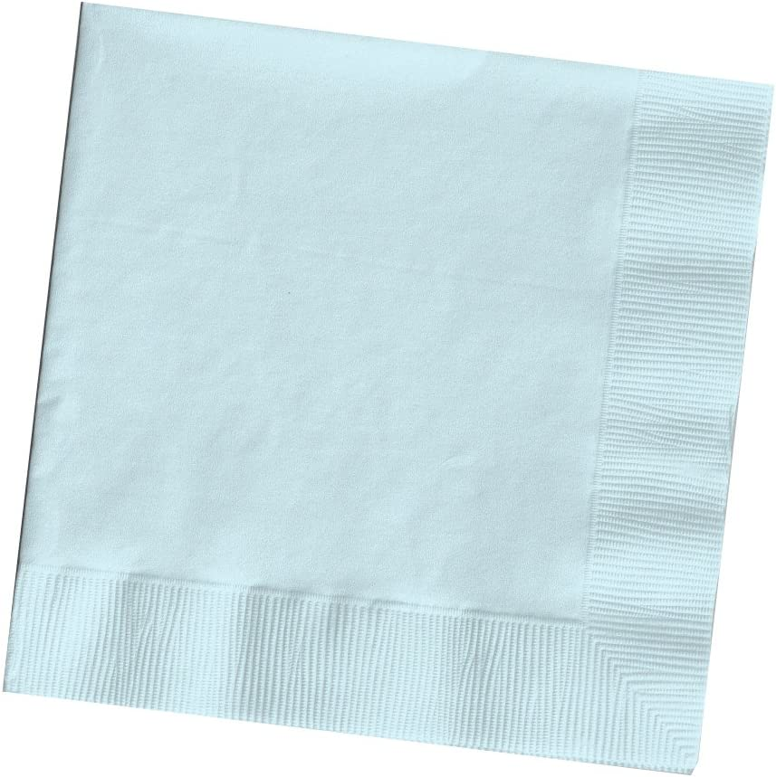 50-Count Touch of Color 3-Ply Paper Beverage Napkins, Pastel Blue