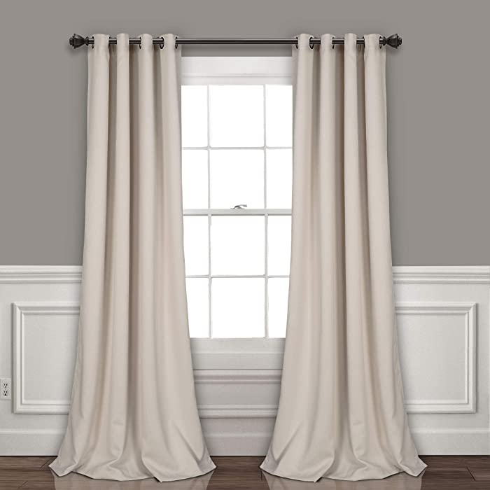 "Lush Decor Curtains-Grommet Panel with Insulated Blackout Lining, 95"" L Pair, Wheat"
