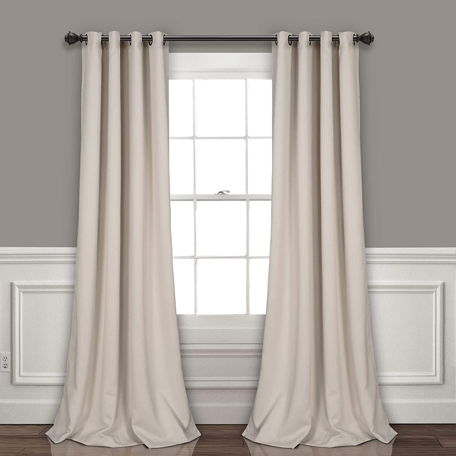 "Lush Decor Curtains-Grommet Panel with Insulated Blackout Lining, Room Darkening Window Set (Pair) 120"" x 52"" Wheat, L"