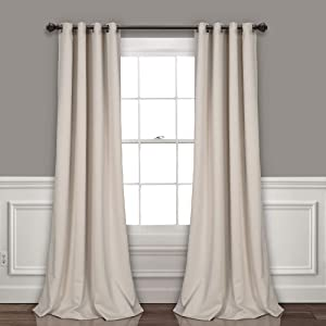 """Lush Decor Curtains-Grommet Panel with Insulated Blackout Lining, Room Darkening Window Set (Pair) 120"""" x 52"""" Wheat, L"""
