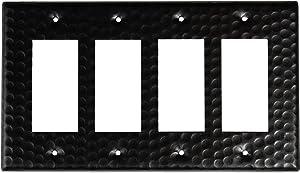 Monarch Abode 19116 Hand Hammered Quad Rocker Wall Switch Plate, 4-Gang, Matte Black