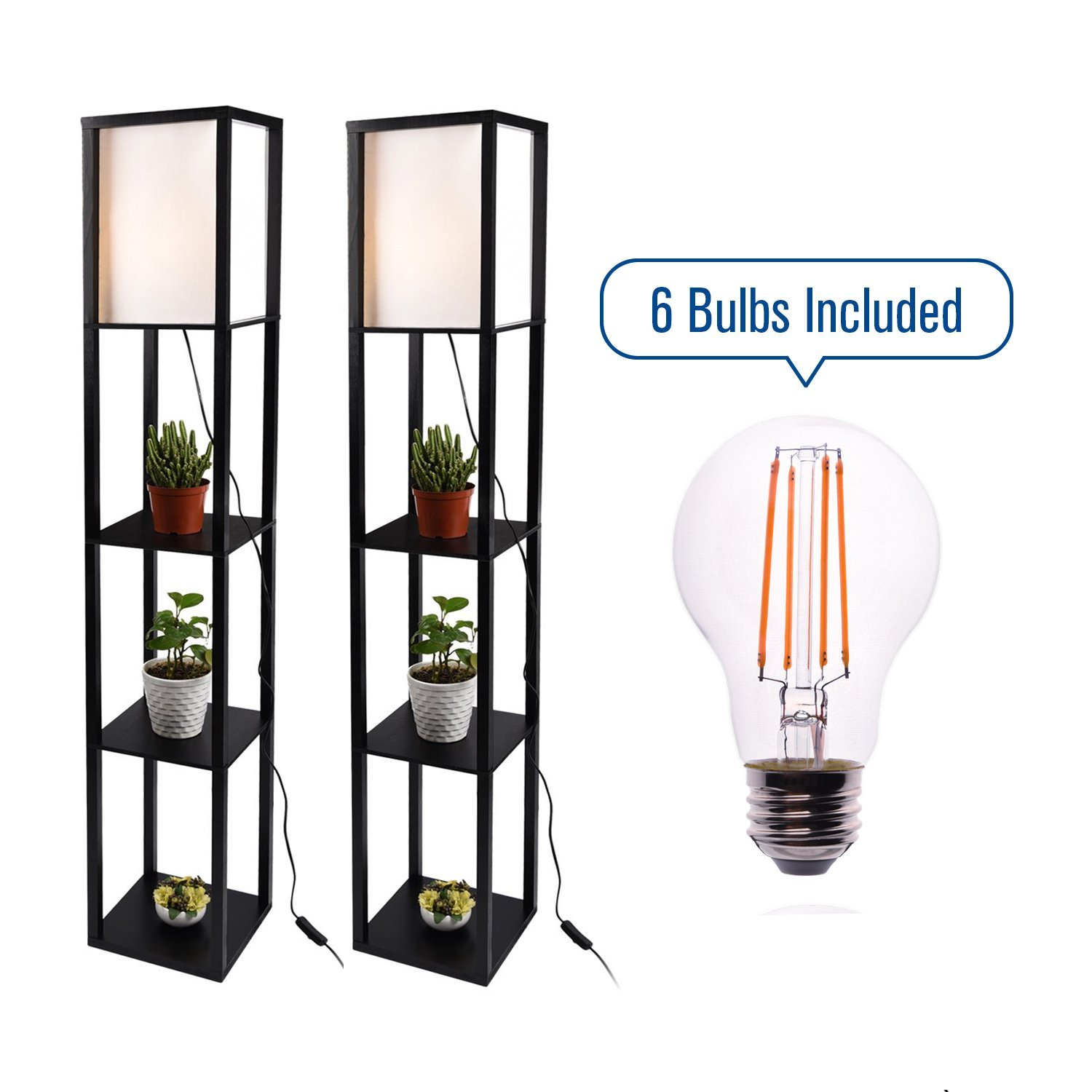 Shelf Floor Lamp with Linen Shade, Set of 2, UL Listed, Black Wooden Frame, 63 Inch Height, Switch on/off, Etagere Organizer Shelf, with 7W Dimmable LED Edison Light Bulbs by PULUOMIS