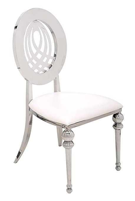 Superb Chelsea Contemporary Chrome Dining Chair In White Faux Caraccident5 Cool Chair Designs And Ideas Caraccident5Info