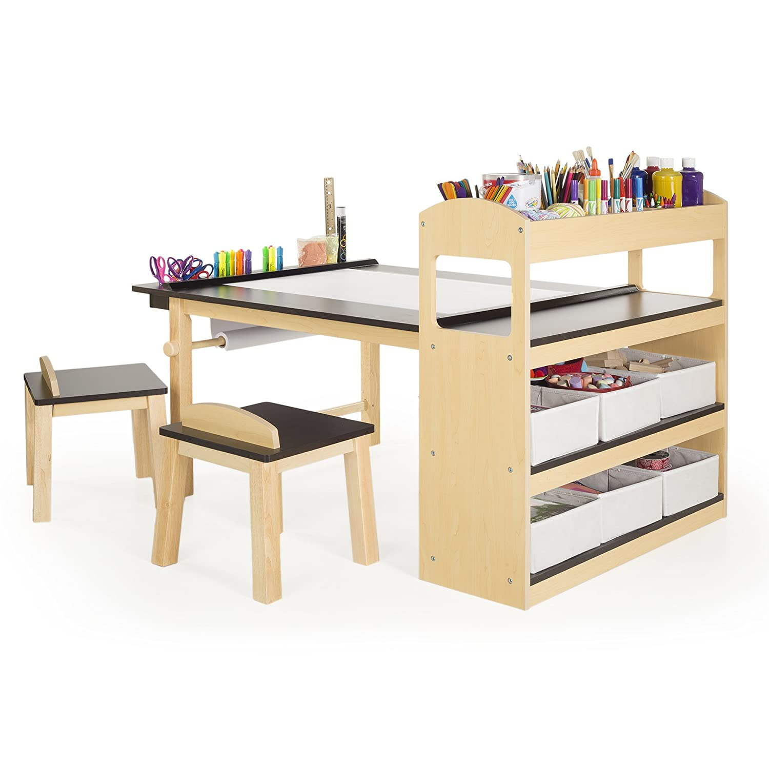 Amazon Guidecraft Deluxe Art Center Side Storage Shelves Two
