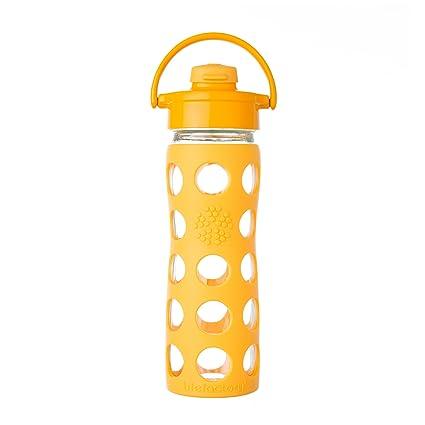 Life factory botella de vidrio con tapa, 6.98 x 6.98 x 25.4 cm, Amarillo