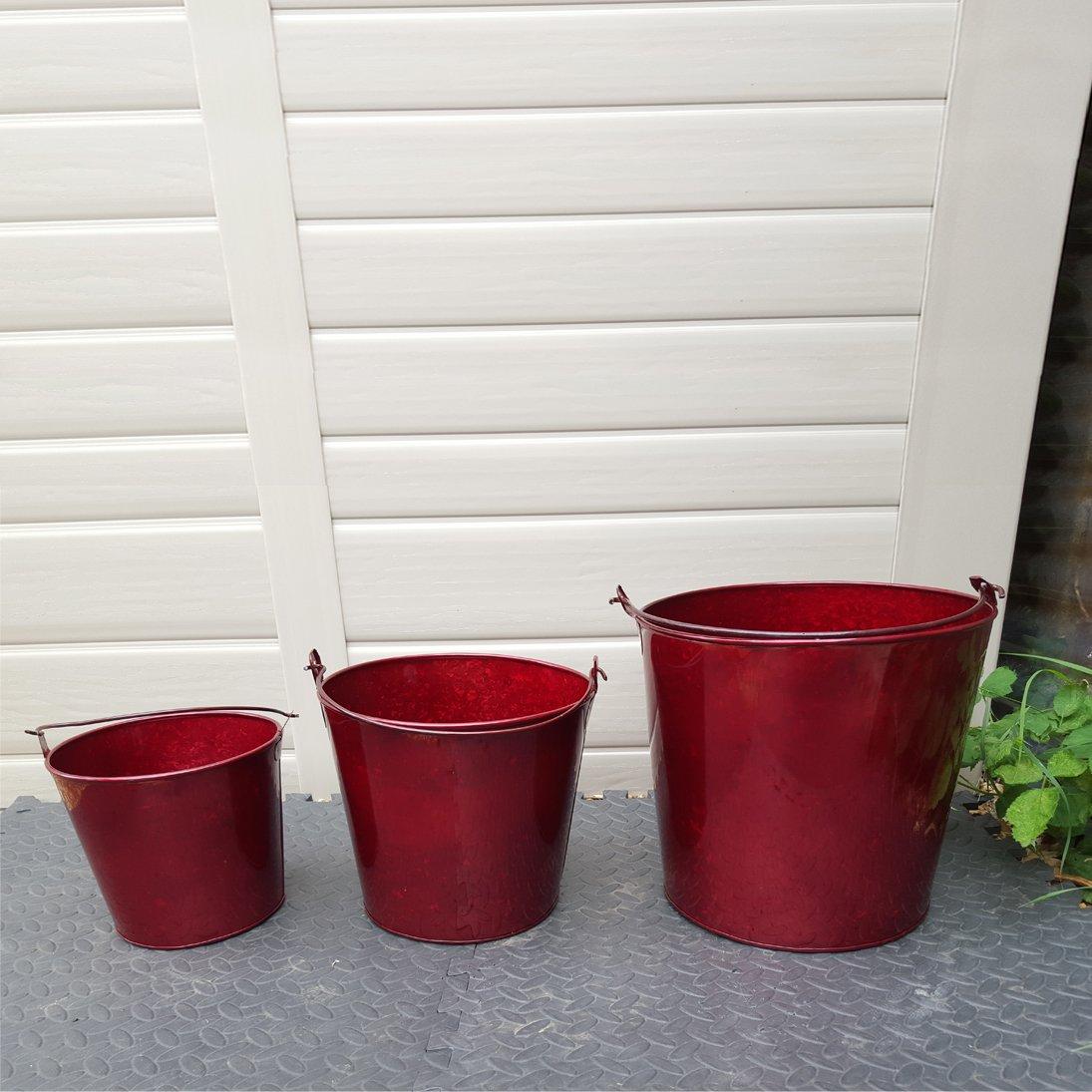 3 Stück, Rot Glänzend, Metalleimer, Verzinkt