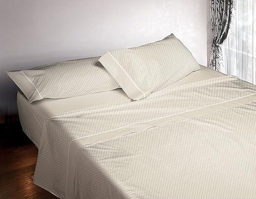 Burrito Blanco Juego de Sábanas 4 Piezas (Encimera, 2 Fundas de Almohada y Sábana Bajera Ajustable) Algodón 100% para Cama de Matrimonio de 180x190 cm hasta 180x200 cm, Topitos Beige y Blanco: