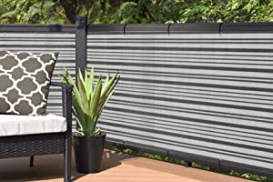 Alion Home Elegant Privacy Screen for Backyard Fence, Pool, Deck, Patio, Balcony, Outdoor Paneling and Outdoor Screening- Include Zip Ties (3 x 16 FT, Dark Gray/White)