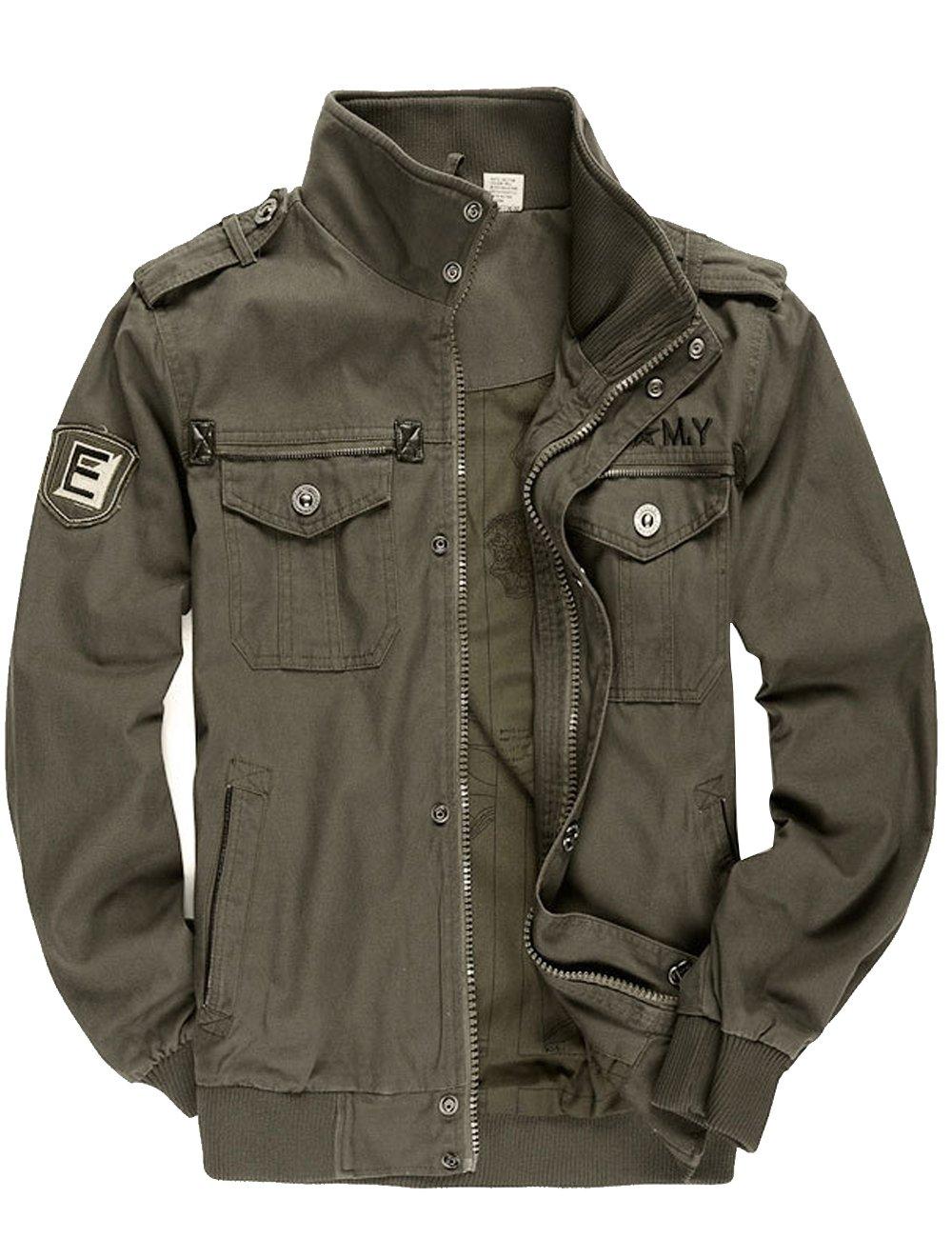 8fa7d95dd Men's Windbreaker Jacket Stand Collar Cotton Military Tactical ...