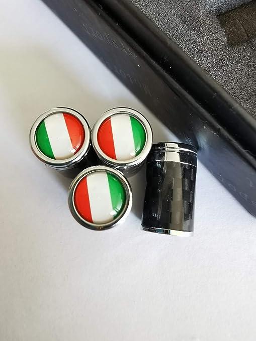 Max AUTO CARBON V/éritables bouchons de valve en m/étal carbone Valve universelle avec drapeau Italie Italie