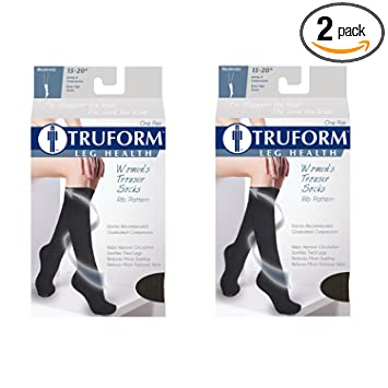 Truform Womens Fit Compression Socks, Rib Knit Pattern, 15-20 mmHg, Tan