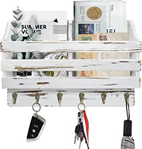Mail and Key Holder for Wall with 6 Key Hooks, 2 Slot Mail Organizer Wall Mount with Key Holder, Rustic Mail Holder for Wall, Mail Sorter Bill Letter Storage for Entryway Hallway Office