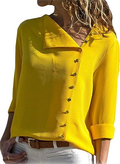 Minetom Blusa Mujer Chiffon Camisa De Manga Larga Rayas Camisas Moda Casual Elegante Otoño Anchos Cómodo