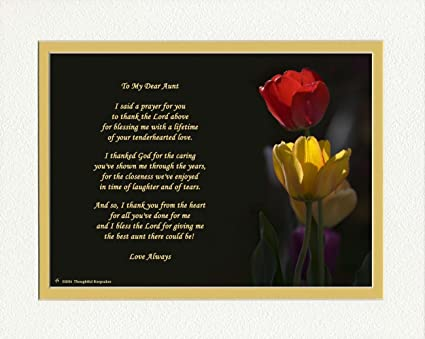Amazon Gift For Aunt With Thank You Prayer For Best Aunt Poem