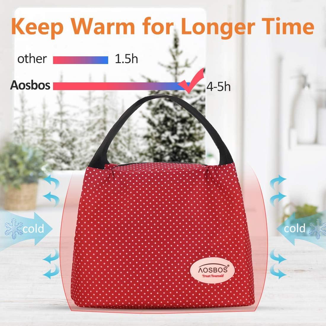 Aosbos Sac Repas Isotherme pour D/éjeuner Lunch Bag Portable 8,5L