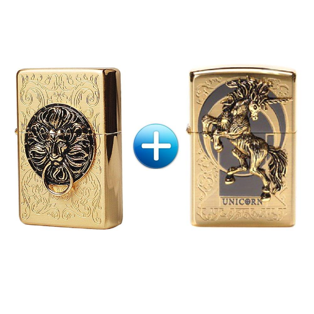 Zippo Lion Gate Gold + Unicorn Gold Lighters 1 + 1 / 2 PCS / Genuine / Org Packing (6 Flints 2 sets Free Gift)