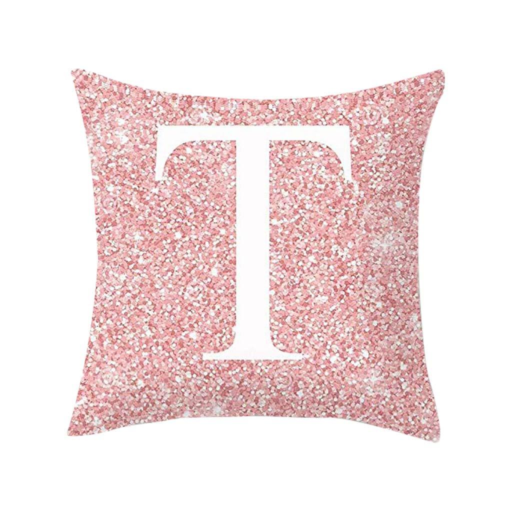 KANGMOON Throw Pillow Covers Decorative Pillows Case Cotton Fiber Cushion Sofa Car Office Cover Home Decoration 45X45CM (Pink Englisch Alphabet T)