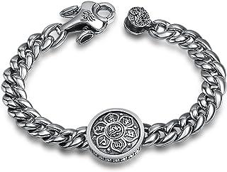Bishilin 925 Sterling Silver Bracelets for Men Six-Word Mantra Memoirs Silver Rock Bracelet for Women