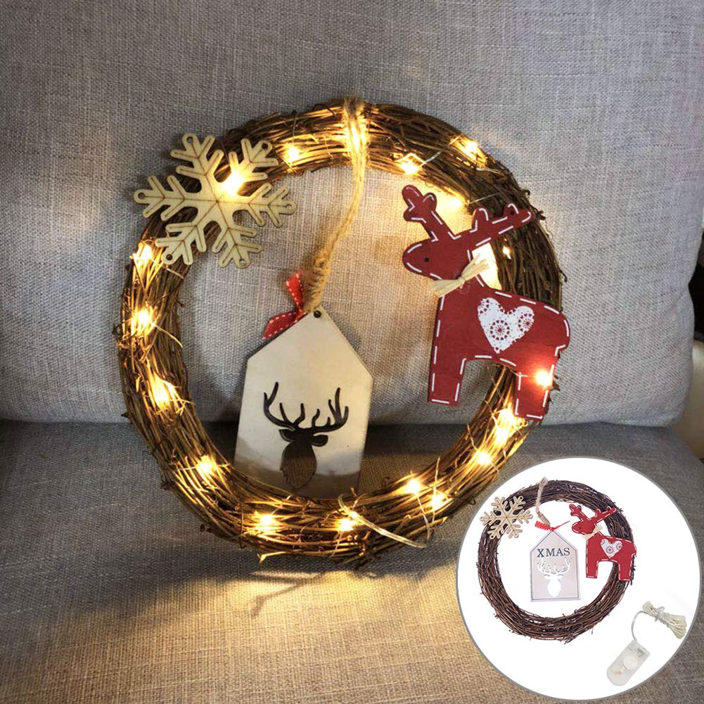 Goodtimes28 Clearance 20LED Circle Wreath Deer Snowflake Rattan Christmas Tree Ornament Wall Decor