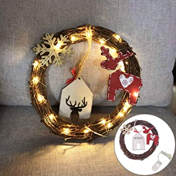 GUANGS 20LED Circle Wreath Deer Snowflake Rattan Christmas Tree Ornament  Wall Decor - Amazon.com: GUANGS 20LED Circle Wreath Deer Snowflake Rattan