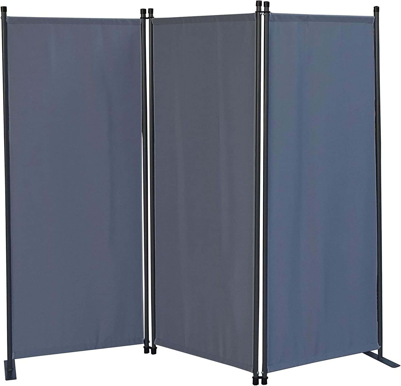 QUICK STAR 2 Pezzi Paravento da Giardino 170 x 165 cm 3 parti pieghevole Divisorio in Tessuto Protezione della Privacy Grigio