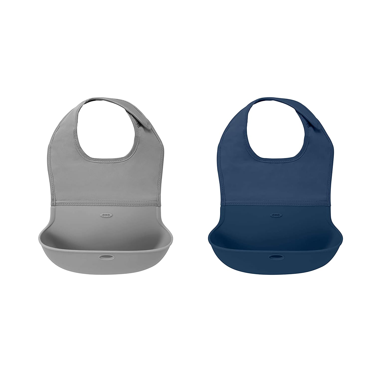 OXO Tot Roll-Up Bib 2 Pack Gray/Navy