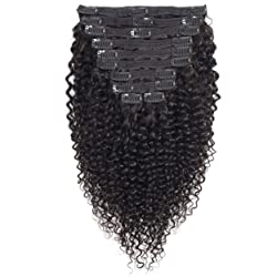 VTAOZI Curly Clip in Hair Extensions Human Hair for Black Women