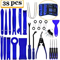 Manfiter 38Pcs Trim Removal Tool, PryKit Car Panel Tool Radio Removal Tool Kit, Auto Clip Pliers Fastener Remover Pry Tool Kit, Car Upholstery Repair Kit, Prying Tool Kit with Storage Bag 2 (Blue)