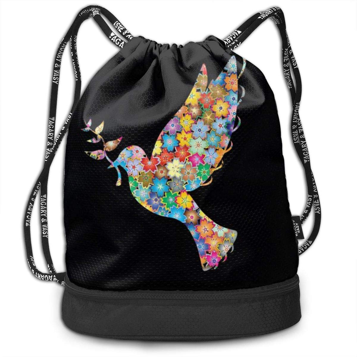 Address Verb Drawstring Backpack with Pocket Multifunctional Sturdy Flowers Dove Sackpack Sports Gym Shoulder String Bags by Address Verb