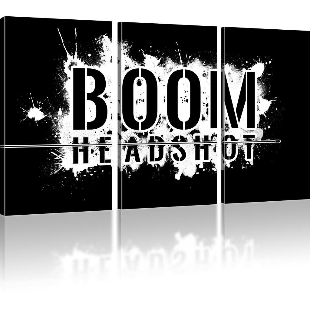 Kunstlab BOOM Headshot Gamer Wandbilder auf Leinwand besser als Poster - 135x80 cm 3-Teilig  Schwarz-weiss s