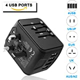 GINDOLY Travel Adapter, 4USB Ports International Power worldwide all in one universal Adapter High Speed Charger AC Wall Outlet Plugs for Italy Europe Asia South Africa Thailand UK AUS 170 countries