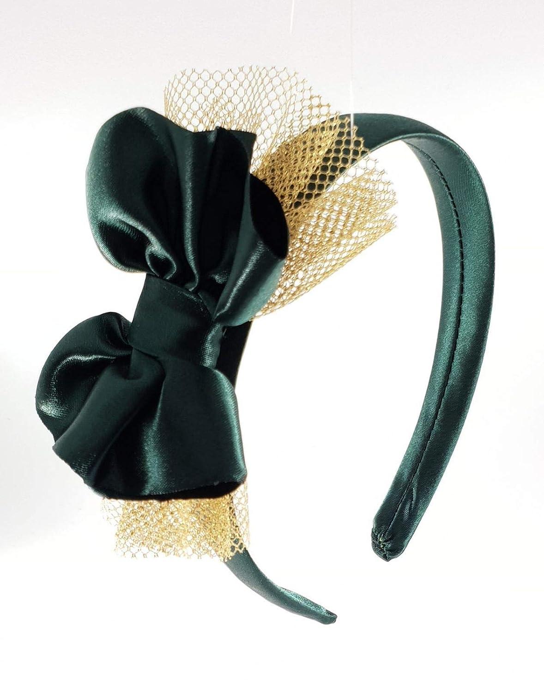 Cerchietto per capelli bambina fatto a mano in raso con fiocco
