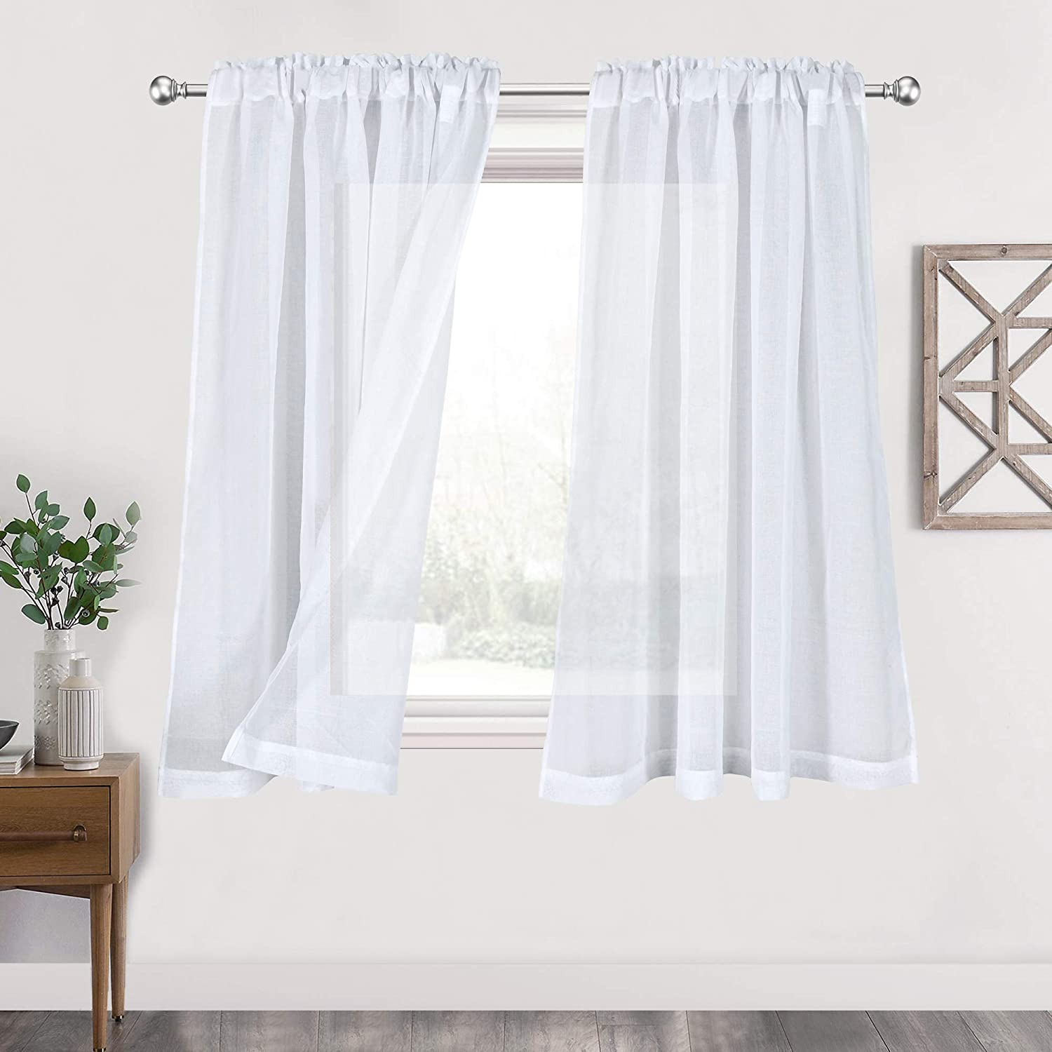 White Sheer Curtains 45 Inches Long for Kitchen Rod Pocket Semi Sheer Curtains Drapes for Bedroom Living Room Window Treatment Faux Linen Sheer Draperies Crinkle Ruffled Curtains 2 Pack 52Wx45L