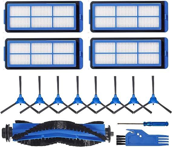 LesinaVac - Kit de Repuesto para Robot Aspirador Eufy RoboVac 11S MAX, RoboVac 15C MAX, RoboVac 30C MAX, Incluye 1 Cepillo Principal, 8 cepillos Laterales, 4 filtros, Cepillo de Limpieza Azul: Amazon.es: Hogar