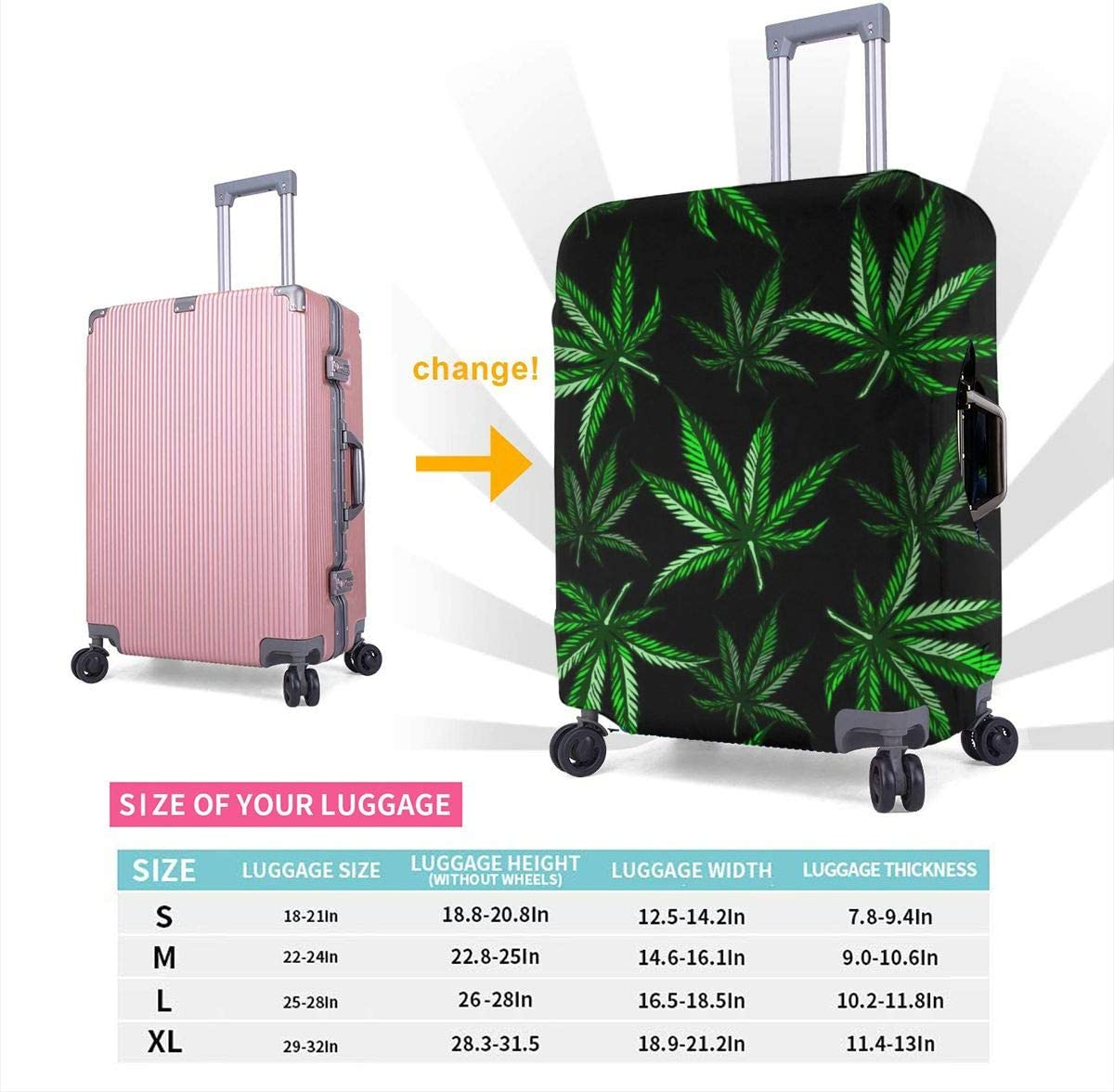 Marijuana Leaf Pattern XL Luggage Cover Elastic Travel Suitcase Protector Fits 18-32 Inch