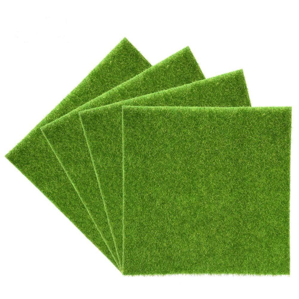 4pcs, 30x30cm Artificial Grass Mat Patch Indoor//Outdoor Green Artificial Grass Turf Runner Rug Synthetic Miniature Garden Ornament DIY Craft Pot Artificial Lawn Grass Plastic