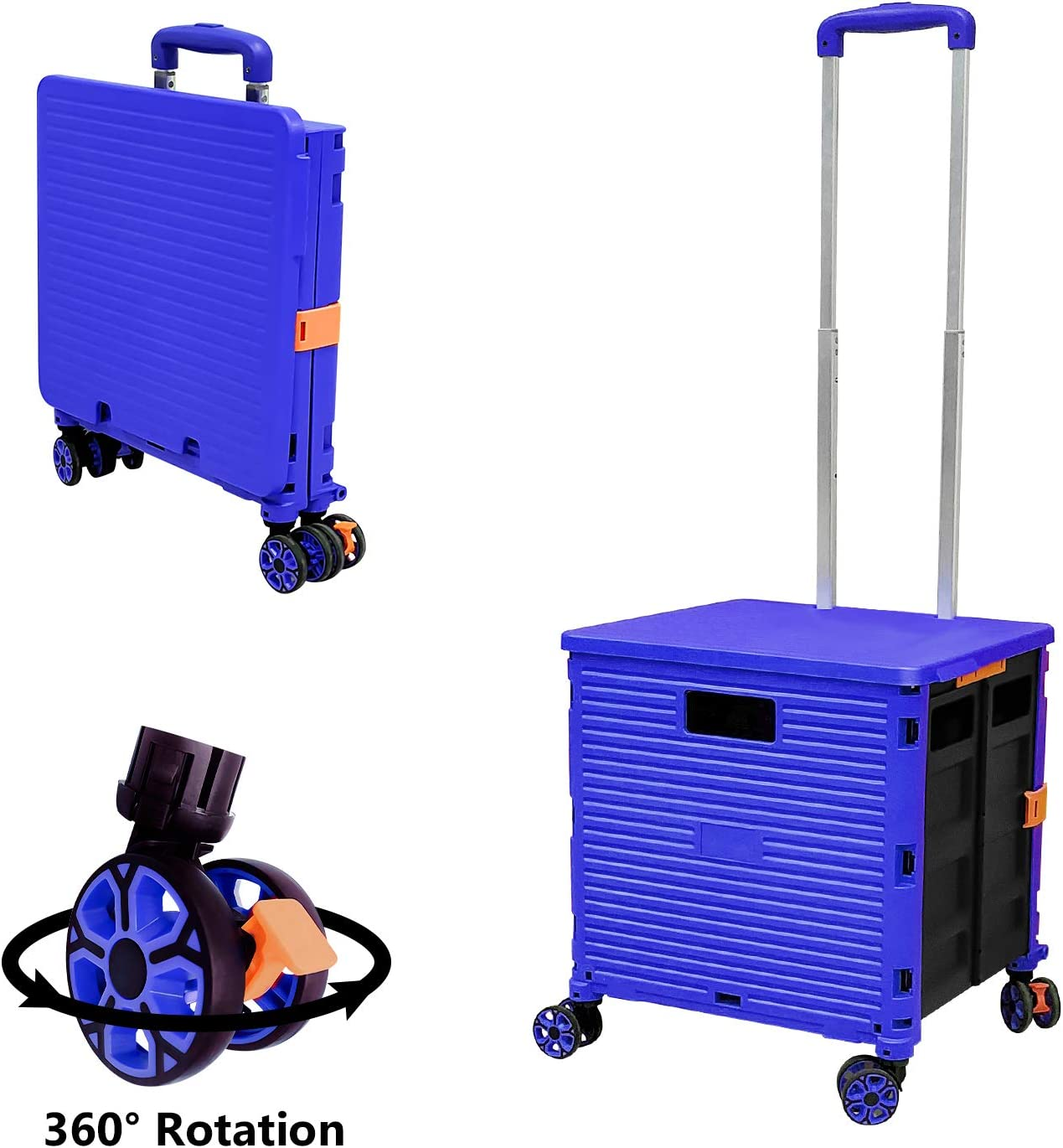 Foldable Utility Cart Folding Portable Rolling Crate Handcart with Durable Heavy Duty Plastic Telescoping Handle Collapsible 4 Rotate Wheels for Travel Shopping Moving Luggage Office Use (Blue)