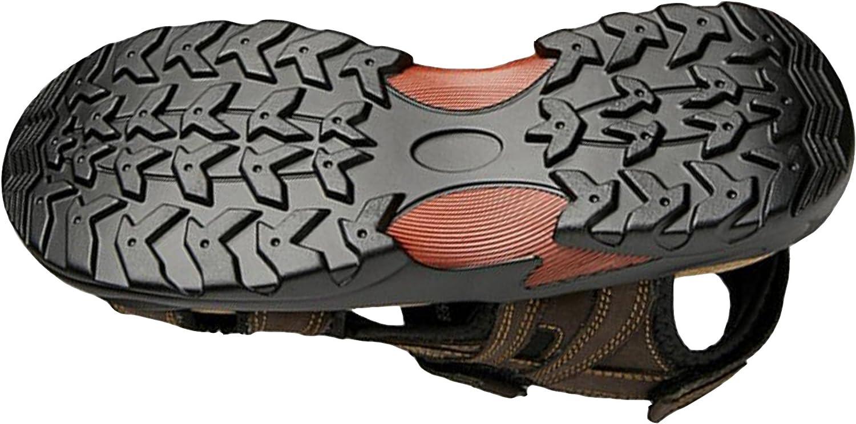 GFONE Mens Leather Velcro Strap Waterproof Open Toe Sports /& Outdoor Walking Hiking Sandals Size 5-12.5