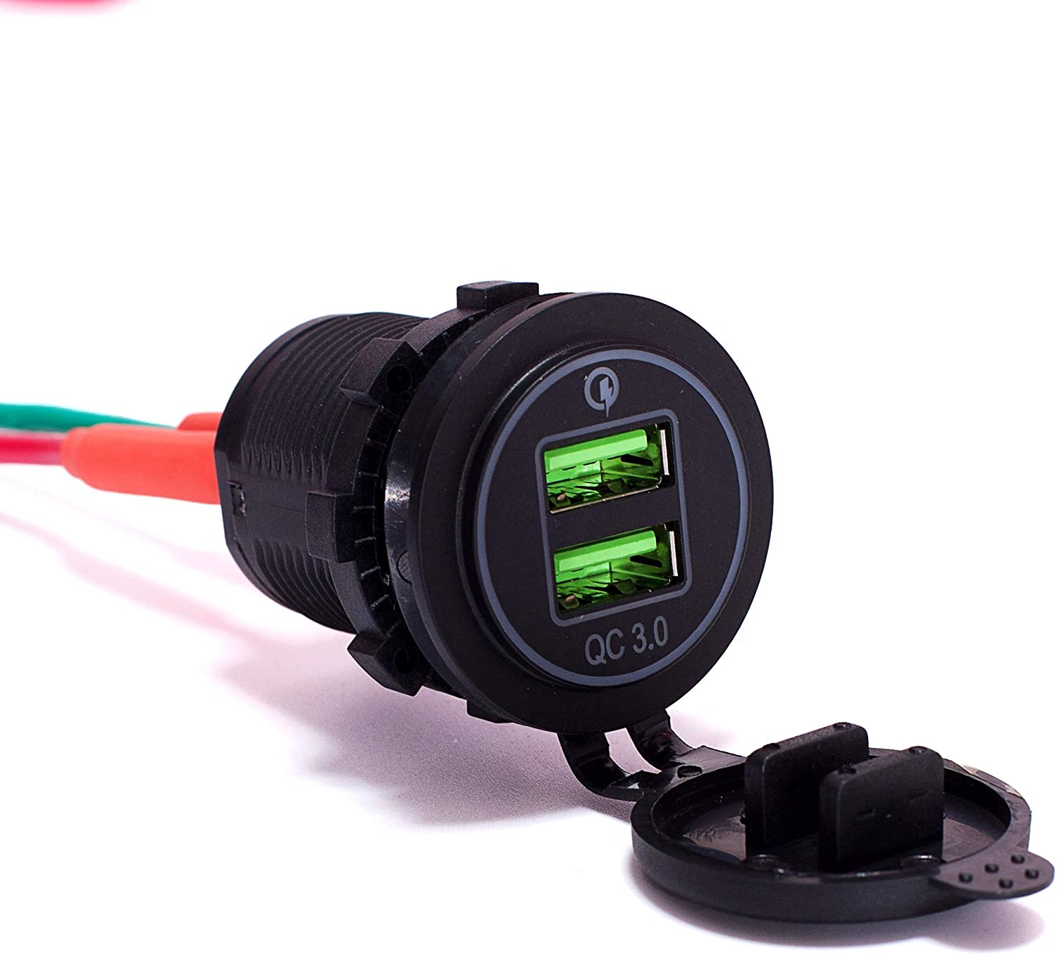 Ginsco Quick Charge 3.0 Dual USB Charger Socket Fast Charger with 10A Fuse Wire DIY kit LED Blue for Car Boat Marine Motorcycle Truck RV