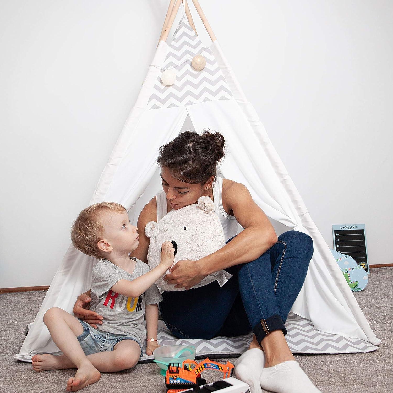 Kinderzelt Tipi Zelt f/ür M/ädchen /& Jungs 160x120x120cm Indianerzelt f/ür Kinderzimmer oder im Garten Gr/ö/ße ca Skojig Spielzelt mit Tasche