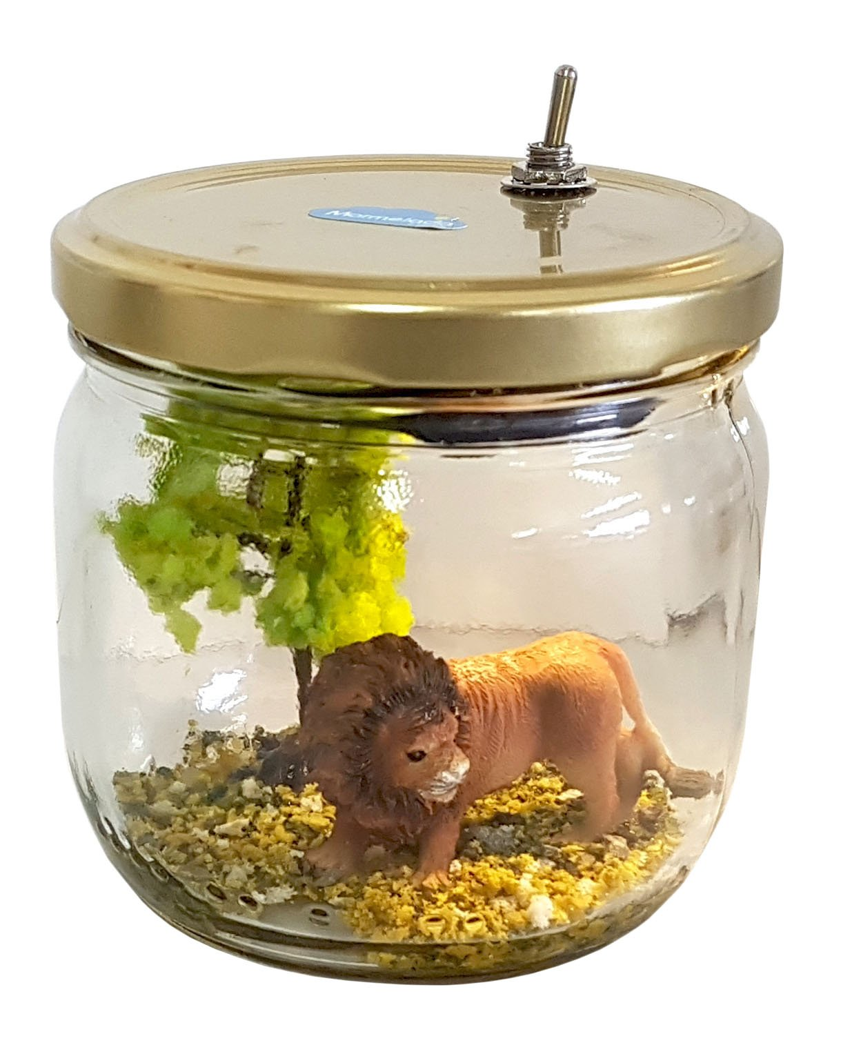 Night Light for Kids, Marmelada Lights, Story in a Jar, Junior Series African Lion, LED Bedside Kids, Baby, Children Night Lamp Bookshelf or Tabletop, Battery Operated 2 Months runtime.