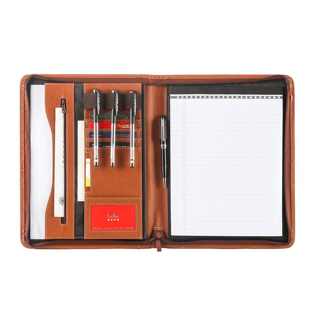 Leathario File Folder Padfolio Writing Pad Business Presentation Folder Portfolio (Brown-A4-2) (brown-34)