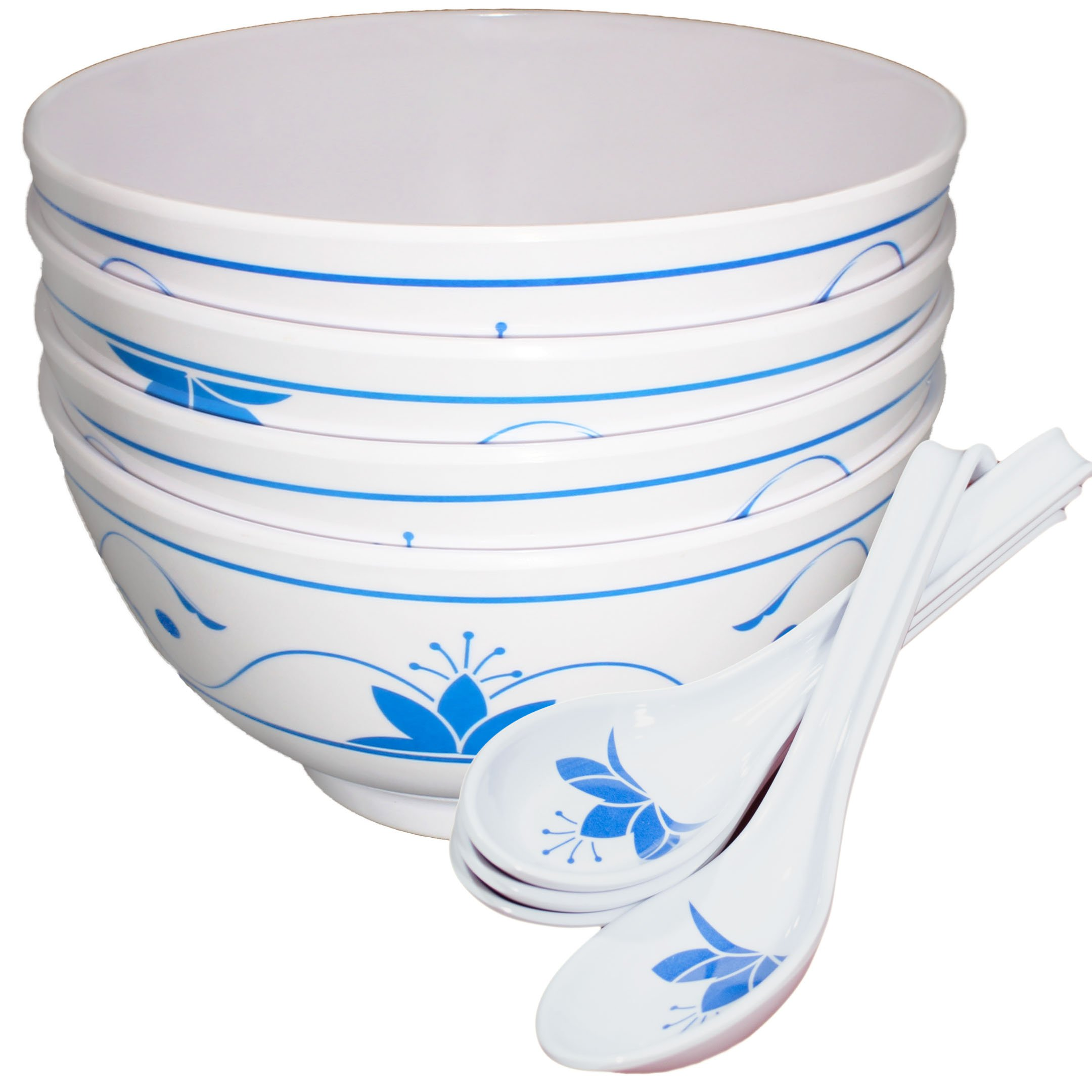 Chef Miso Set of 4 Melamine Soup Bowls and Spoons - Blue Lotus 24 Ounce