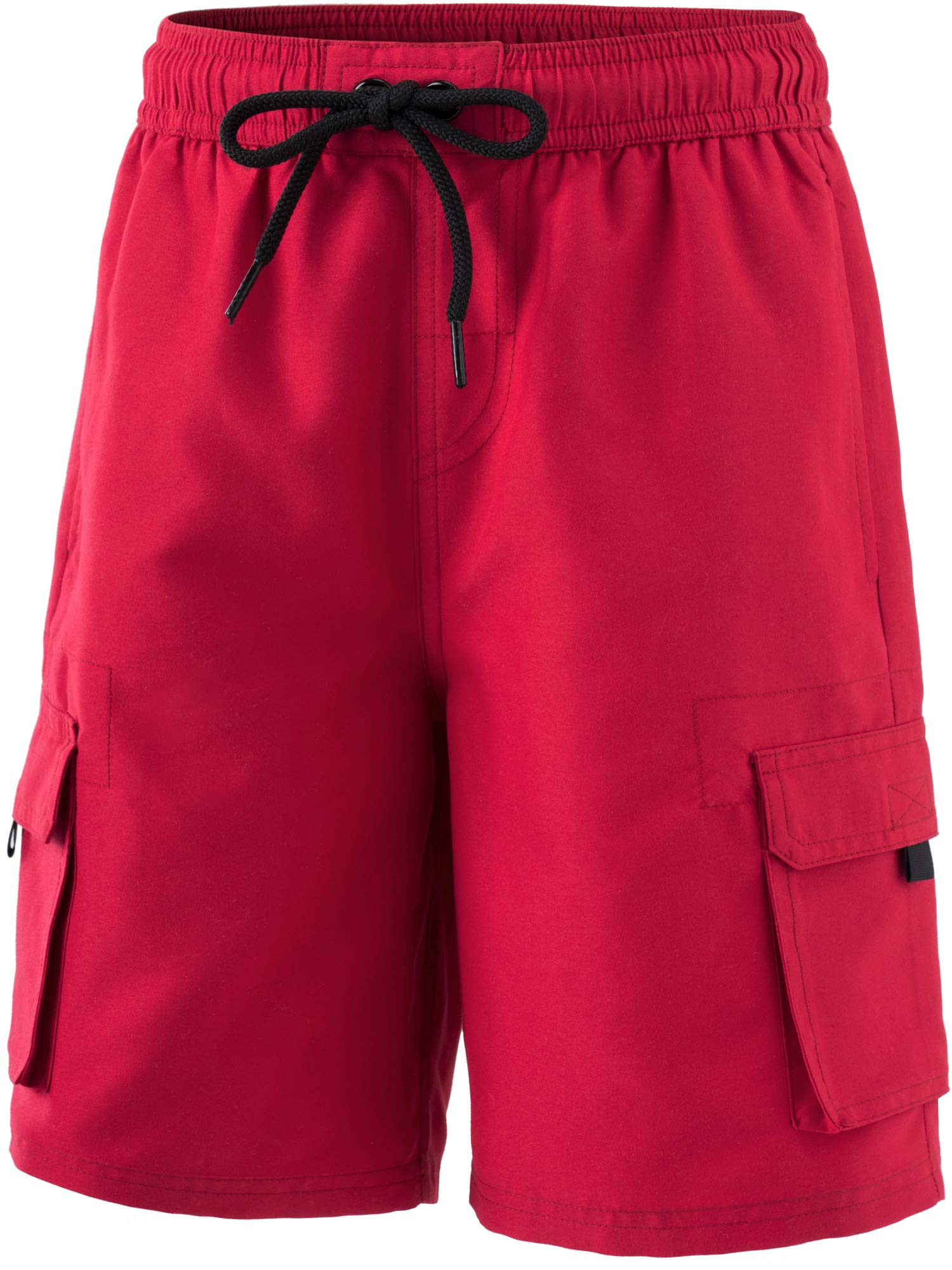 TSLA Boy's Swimtrunks Quick Dry Board Shorts Water Beach Board Shorts Bottom, Solid(bsb40) - Red, 3X-Small (2) by TSLA