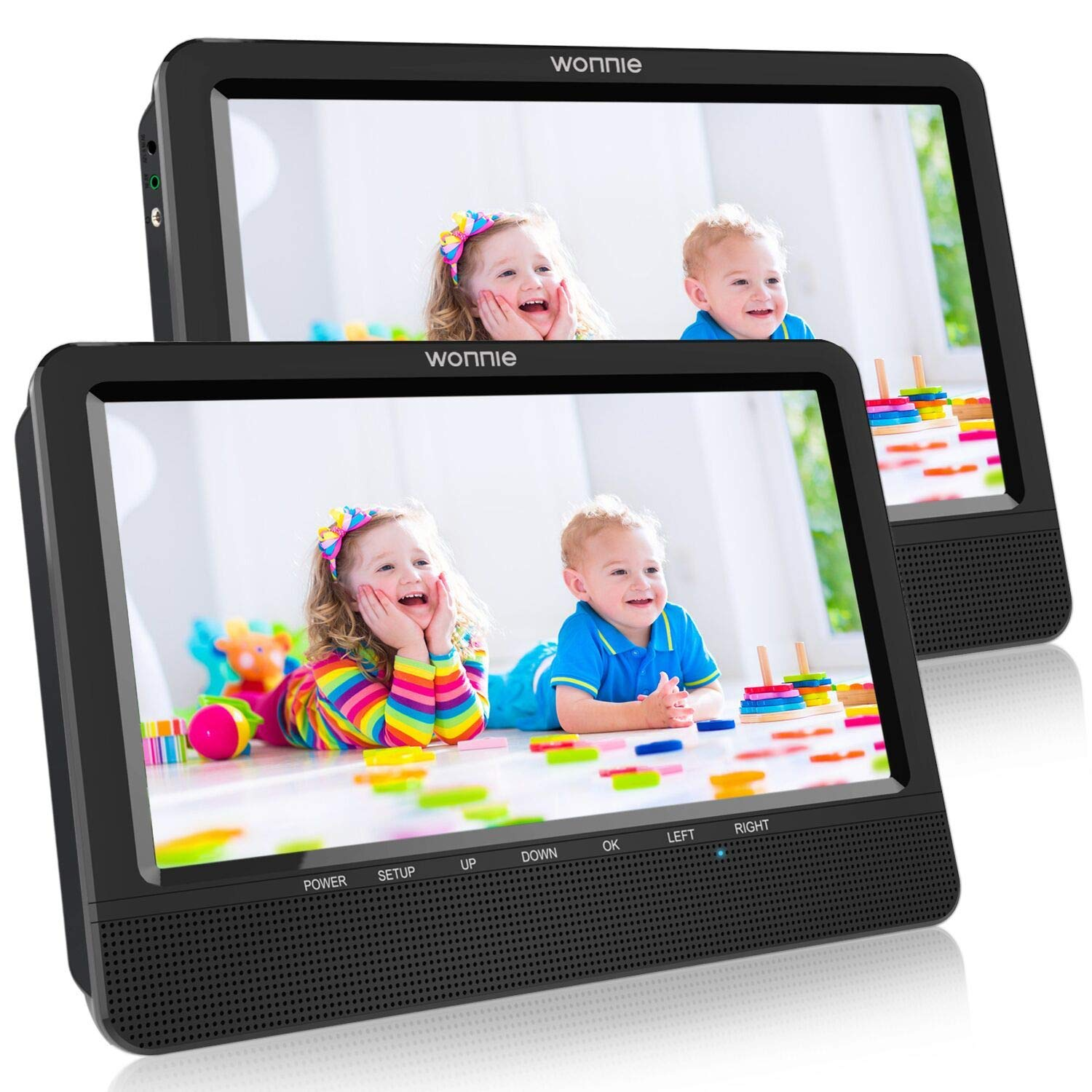 WONNIE 10.5 Portable Dual DVD Players, 1024x800 HD LCD TFT, USB/SD/MMC Card Readers, Built-in 5 Hours Rechargeable Battery, Stereo Sound, Regions Free, AV Out & in by WONNIE